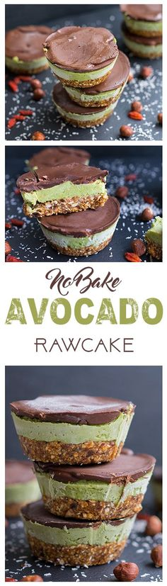 Raw avocado creme cake no bake. This and more healthy recipes on www.eat-vegan.de  #avocado #frozen #cupcakes #vegan #dessert #chocolate #nuts #nobake