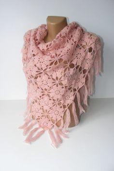 pink shawlhand crochetedlace shawlfloral crochet shawlbest by seno, $75.00