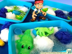 Pirates - Jake Themed Water Multi-sensory - Sponges Tuff Tray Ideas and Activities
