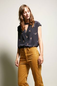 No.6 Lillie V Neck Top in Black Country Floral