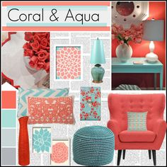 Coral & Aqua by meggiechelle on Polyvore featuring interior, interiors, interior design, home, home decor, interior decorating, Sarreid, Pier 1 Imports, DENY Designs and Thomaspaul