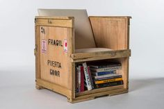 Home Furniture. Surprising Furniture Design Made Out Of Recycled Materials Ideas. Recycled Furniture Design Ideas featuring Wooden Containers Arms Chairs and Base Open Bookshelf Crate Furniture, Recycled Furniture, Furniture Making, Home Furniture, Furniture Design, Furniture Ideas, Funny Furniture, Pallet Crates, Wood Crates