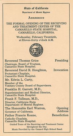 Announcement of the Formal Opening of Camarillo State Hospital