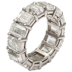 All GIA Certified Emerald Cut Wedding Band, Over 1 Carat Each