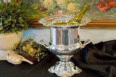 Wallace Baroque Silver Plate Wine Chiller - Trophy Style Wine Cooler - Vintage Silver Plate Ice Bucket