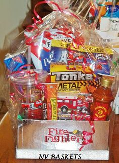 Silver Firefighter Gift Basket...Hot Hot Hot