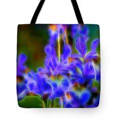 Sunny Tote Bag featuring the digital art Glowing Iris Blue Ten by Mo Barton