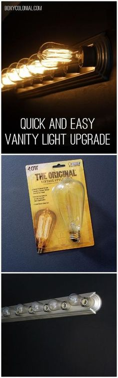 Upgrade your builder grade vanity light with spray paint and Edison light bulbs by melva