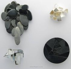 Anna Wallis, on Contemporary New Zealand Jewellery. Shown: 1'Drip' brooch, $900, Oxidised sterling silver.  2)'Crystal' brooch, $400, Sterling silver. 3)'Machine' brooch, $350, Sterling silver, white powdercoat.  4)'Plains' brooch, $480, Oxidised sterling silver.