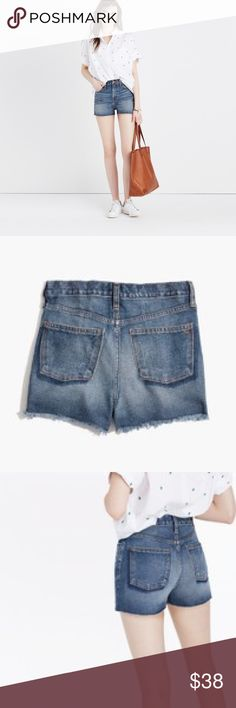 """Madewell The Perfect Jean Short NWT We remade our vintage-inspired Perfect fit jeans into a just-right pair of cutoffs. With an easy tall rise that you can wear high at the waist or low. We recommend getting these in your usual size—they'll feel tight at first but stretch out juuuuuuust enough after a couple of wears. Premium Cotton denim. A perfectly worn-in dark indigo wash with chopped hems and hand-placed pockets. Copper hardware; contrast stitching. True to size. 3"""" inseam. Madewell…"""