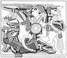 El 'guerrero caído' clava su spatha en el vientre del caballo de su matador. Diseño de la chapa de recubrimiento del casco de la tumba barco encontrada bajo el túmulo de Sottoh-Hoo. Cultura Germánica anglosajona. ¿Ante quem Circa 624 d.C.?
