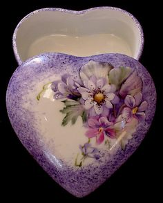 SOLD...Signed Hand Painted Floral Gerber Daisy and Violets Design on Heart Shaped Porcelain China Ring Jewelry Trinket Box - Can be personalized $32.50 + $5.95 shipping