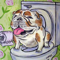 bulldog computer dog art tile coastetr gift artwork modern