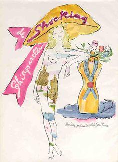 1948 Shocking de Schiaparelli art by Marcel Vertes Vintage Advertisements, Vintage Ads, French Vintage, Vintage Posters, Perfume Ad, Vintage Perfume, Perfume Bottles, Salvador Dali, Marcel