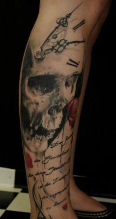 Clock / Skull Tattoo - Best Tattoos Ever - Tattoo by Florian Karg - 16