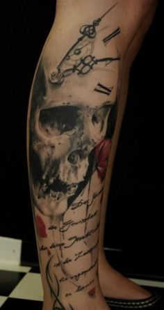 Clock / Skull Tattoo - Best Tattoos Ever - Tattoo by Florian Karg - 16