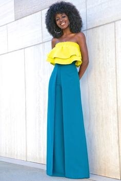 Cropped Ruffle Top + Box Pleat Wide Leg Trousers