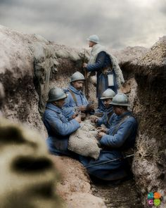 French troops playing cards in a trench on the Western Front, 1916 (c).