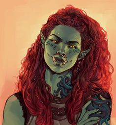 Art featuring fantasy orcs of all sorts. Dungeons And Dragons Characters, Dnd Characters, Fantasy Characters, Dark Fantasy Art, Fantasy Women, Fantasy Rpg, Fantasy Character Design, Character Design Inspiration, Character Art