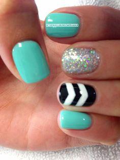 Chevron nail art... been loving the glitter + chevron nail look!!!