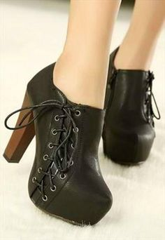 Black Side Lace Up Design Chunky Heel Ankle Boots