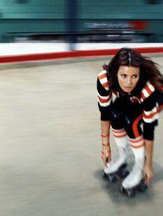 "Raquel Welch in the 1972 movie ""Kansas City Bomber."" She plays a roller-derby queen fighting off jealous rivals and amorous men. Roller Derby, Roller Skating, Skating Rink, Roller Rink, Roller Disco, Katharine Hepburn, Audrey Hepburn, Kansas City, Divas"