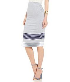 M.S.S.P. Striped Jersey Knit Pencil Skirt