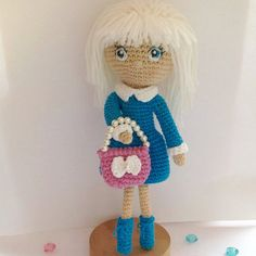 VALENTINES SALE, Doll crochet Daria with a bag, Elegant  doll blond hair, Eyes are embroidered, Doll art, Doll home decoration, Handmade