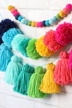 DIY Tiered Tassel Garland for tweens pom crafts crafts crafts Pom Pom Crafts, Yarn Crafts, Home Crafts, Diy And Crafts, Crafts For Kids, Arts And Crafts, Preschool Crafts, Diy Party Crafts, Creative Crafts