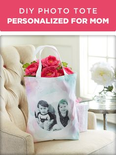 Create a tote Mom will cherish forever. Print a special photo on a toner based printer & cut in desired shape. Use transfer medium on front of photo & place face down on tote, smooth to remove bubbles. Let dry 24 hours. Mix paint with fabric medium. Use water & fabric medium on bag where painting to help blend & lighten paint around transfer. When cured, dampen with wet sponge & rub paper off of transfer. Continue until image is clear & visible. Full directions & materials on Michaels.com.