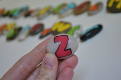 Painted alphabet stones.... sealed with nail polish. Pretty nice.