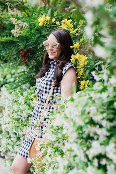 gingham shirtdress- lespec sunglasses- chanel loafers- cuyana bag