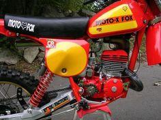 Close-up of Moto-X-Fox modified Honda Motocross Vintage, Enduro Vintage, Motocross Bikes, Vintage Bikes, Retro Bikes, Old Honda Motorcycles, European Motorcycles, Honda Bikes, Vintage Motorcycles