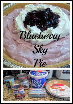 Blueberry Sky Pie is a refreshing dessert made with frozen lemonade, blueberry pie filling and cool whip.  It takes minutes to whip it all together and then dump into graham cracker crusts. Chill and serve cold.  Makes 2 pies.
