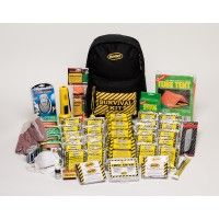 "Backpack Kit - Deluxe (4 Person). 4 Person Kit (KEX4) Contains: 1 - Backpack 4 - 2400 Calorie Food Bars 4 - Solar Blankets 24 - Pouches of Waters 4 - Dust Masks 4 - Ponchos 1 - Flashlight 2 - Alkaline ""D"" Batteries 1 - 2 Person Tent 1 - 50' Nylon Cord 1 - 12 Hr. Light Stick 1 - 54 Piece First Aid Kit  50 - Water Purification Tablets 50 - Waterproof Matches 1 - Utility Knife 1 - 5 N 1 Whistle 1 - AM/FM Radio with Batteries 1 - Camper's Stove 1 - Pair Leather Palm Gloves   ..."
