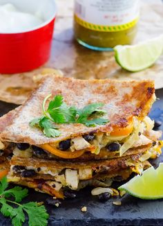 Lighter Fajita Quesadillas Recipe -- Quick and healthy dinner or lunch, with lots of flavour and your choice of protein.