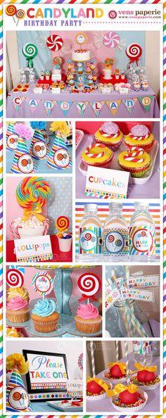 Paquete fiesta de cumpleaños de Candyland por venspaperie en Etsy
