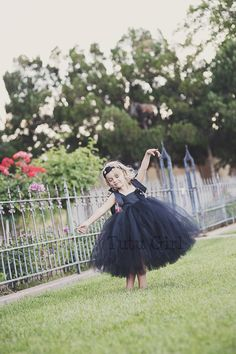 Flower Girl Black Tutu Dress Flower Girl Black Dress  by TutuGirl