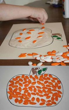 Pumpkin Seed Fall Craft; could even do a brown construction paper stem with toddlers.