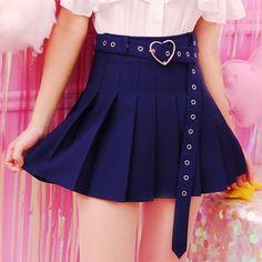 Kaufe 2018 Summer Women Mini Skirts High Waist Harajuku Cute Sweet Pleated Skirt With Heart Belt 4 Colors bei Wish - Freude am Einkaufen Women's Mini Skirts, White Skirts, Pleated Skirts, Cheap Skirts, Harajuku, Skirt Belt, Dress Skirt, Waist Skirt, Skirt Fashion