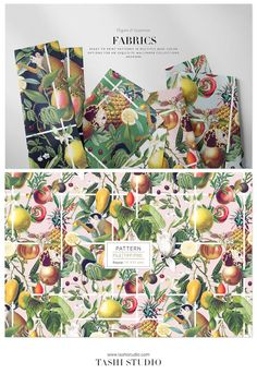 Luxurious tropical seamless patterns with exotic fruits and vegetation elements developed into seamless patterns and also comes with individual motifs. Perfect for a wide range of products from printed fashion apparels, home decor to wallpaper and interiors. #prints #patterns #fabricdesign #textiledesign #tropicalprints #watercolours #printeddesign #springsummerprint #luxurypatterns #designs #art #frutas #fruitspatterns #vibrantprints Exotic Fruit, Tropical Fruits, Textile Design, Fabric Design, Ed Design, Fruit Print, Beautiful Patterns, Print Patterns, Vibrant