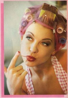 Calving wondered if it was the hairnet that made him think such girlish pink thoughts .he'd always been sissy! New Hair, Your Hair, Vintage Hair Salons, Sandy Hair, Girly Things, Girly Stuff, Hot Rollers, Perm Rods, Bobe
