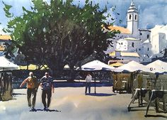 Landscape Watercolor of Old Town Albufeira, Portugal