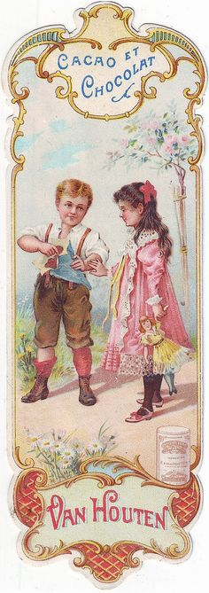 cacao van houten bookmark - boy holding blue packet with chocolates watched by girl holding doll Vintage Bookmarks, Vintage Tags, Vintage Labels, Vintage Ephemera, Vintage Postcards, Vintage Prints, Decoupage Vintage, Vintage Paper, Images Vintage