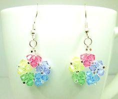 Pastel flower swarovski earrings, swarovski elements, pastel earrings, summer spring earrings, handmade earrings, bicone earrings ER019