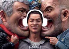 JBL Noise Cancelling Headphones - Jose Mourinho and Pep Guardiola Creative Advertising, Ads Creative, Creative Posters, Print Advertising, Print Ads, Best Advertising Campaigns, Advertising Agency, Creative Director, Creative Design