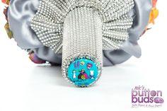 Alice in Wonderland inspired Rainbow Silk Flower and Button Bouquet by Nic's Button Buds Button Bouquet, Diy Bouquet, Creating Keepsakes, Through The Looking Glass, Silk Flowers, Bud, Alice In Wonderland, Wedding Bouquets, Rainbow