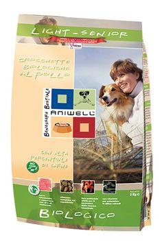 Crocchette Biologiche Cane Light Senior - Aniwell. Gustose crocchette al Pollo Biologico, con mais, frumento, piselli e orzo, ideali per cani senior o in sovrappeso.
