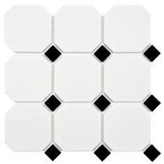 Merola Tile Metro Super Octagon Matte White with Glossy Black Dot 11-5/8 in. x 11-5/8 in. x 5mm Porcelain Mosaic Tile (9.6sq.ft./cs) FXLM4OWD at The Home Depot - Mobile