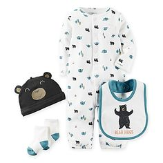 Get a hug and feel the softness of this carter's Babysoft Bear Hugs Convertible Gown, Hat, Bib, and Sock Take Me Home Set. It includes a handy converter gown in a camping print, a cute bear hat, a Bear hugs bib, and cozy socks.
